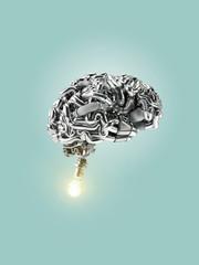 Metallic brain igniting a bulb