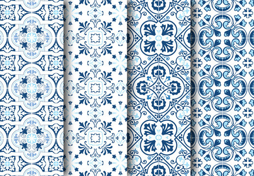 Mediterranean Blue Tile Pattern Set