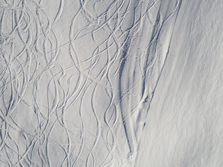 Skiing tracks from above
