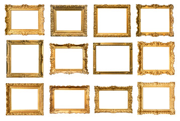 set of various ancient painting frames cut out o