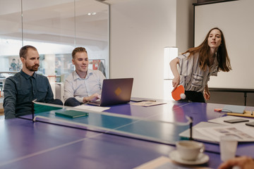 Group of people having a meeting in the modern office