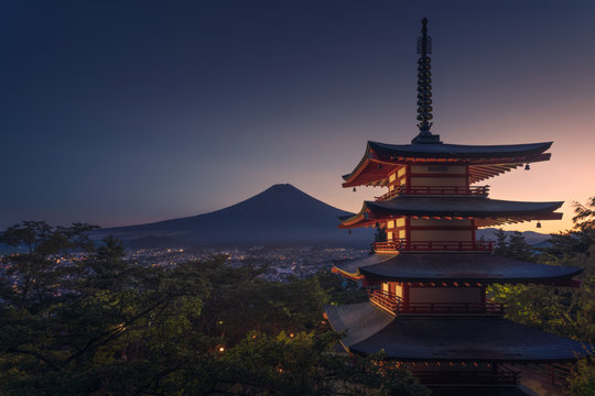 Mt. Fuji with red pagoda, Fujiyoshida, Japan