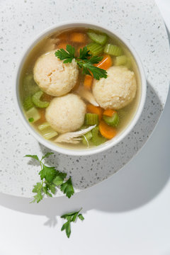 Directly above view of matzo ball soup