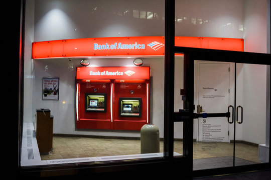 New York, New York, USA - July 15, 2016: A Bank of America ATM branch at night in New York City