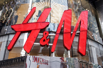 New York, New York, USA - March 28, 2019: Closeup of the H&M logo at the 42nd street location.