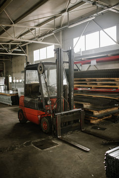 Old forklift in the factory