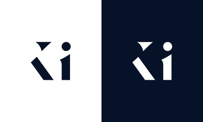 Obraz Abstract letter KI logo. This logo icon incorporate with abstract shape in the creative way. - fototapety do salonu