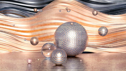 Obraz Beautiful minimalism abstraction background. 3d illustration, 3d rendering. - fototapety do salonu