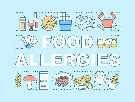Food allergies word concepts banner. Allergic reaction to eggs, seafood, milk, nuts, alcohol. Presentation, website. Isolated lettering typography idea with linear icons. Vector outline illustration