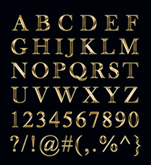 Golden alphabet, numbers, signs on a black background.