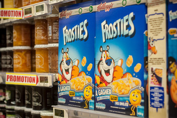 Mulhouse - France - 8 February 2018 - closeup of industrial cereals in blue box with tiger character from Kellogg's compagny at Super U supermarket