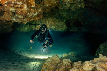 Cave Diving at Madison Blue Spring State Park, Madison County, Florida
