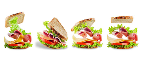 Poster Snack Sandwich with whole grain bread, salad, cheese, tomato and ham on a white isolated background