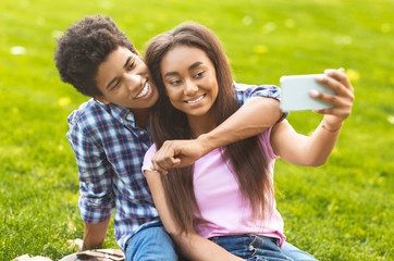 Couple of teenagers taking selfie on picnic outdoors