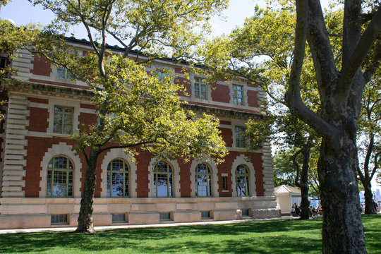 Exterior of Ellis Island Immigration Museum in summer in New York City