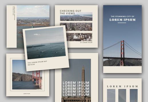 Social Media Layout Set with Bold Typography and Photos