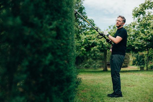 Caucasian man trimming an arizonica hedge with mechanical tools