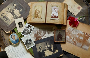Close up of old photographs