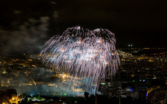 Bilbao celebrating its parties with fireworks