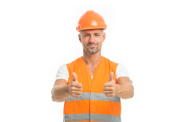 Fototapeta Good job. Safety is main point. Man builder wear protective hard hat and uniform white background. Worker builder confident looking camera. Protective equipment concept. Strong handsome builder obraz
