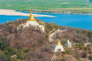 aerial view from the sagaing hill in Mandalay, Myanmar