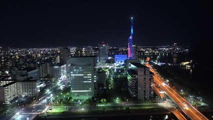 Wall Mural - 都市風景 福岡市 夜景 ノーマルスピード