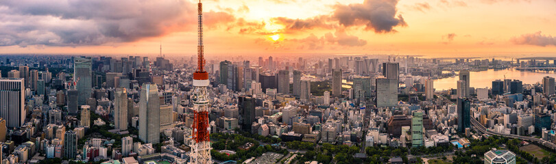 Wall Murals Tokyo Aerial drone Panorama - Skyline of the city of Tokyo, Japan at sunrise. Asia