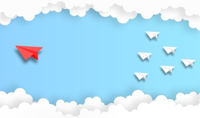 winner concept,paper plane fly in the sky,vector,illustration,paper art style,copy space for text Fototapete
