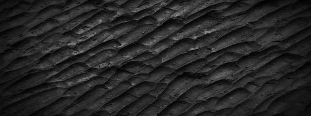 Wall Mural - Panorama rough black slate texture background. Panoramic dark black carving slate texture surface
