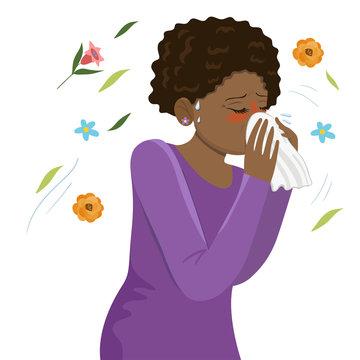 Seasonal Allergy Girl blows her nose in a handkerchief. Vector graphics.