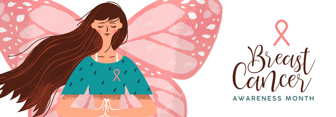 Breast cancer awareness pink butterfly woman