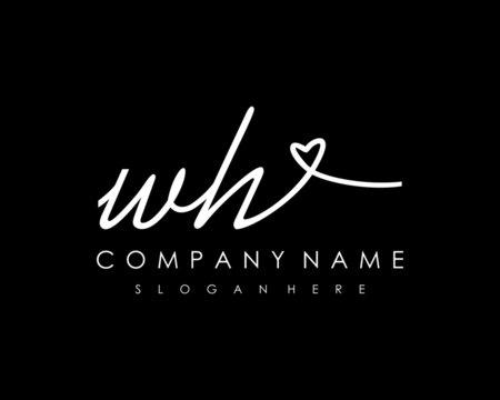 WH Initial handwriting logo vector