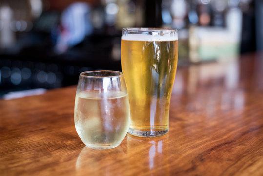 wine and beer at bar