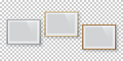 Horizontal rectangle silver, golden and bronze picture or photo frames set isolated on transparent background. Vector design elements.