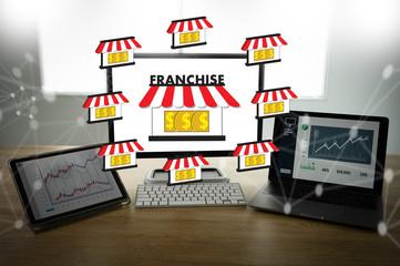 Franchise business concept..global network connection on franchise marketing connection Franchise system