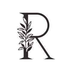 letter R of the alphabet with leaves