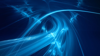 Abstract blue background element on black. Fractal graphics 3d Illustration. Three-dimensional composition of glowing lines and motion blur traces. Movement and innovation concept. Wall mural