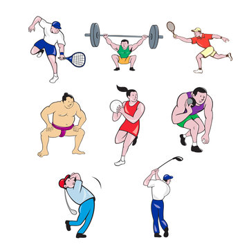 Set or collection of cartoon character sport mascot style illustration of a sumo wrestler, tennis player, weightlifter, netball player, shotput and golfer on isolated white background.