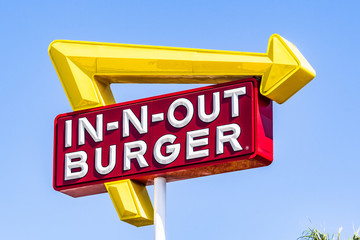 August 19, 2019 San Mateo / CA / USA - Close up of In-N-Out logo displayed at one of their locations in San Francisco bay area