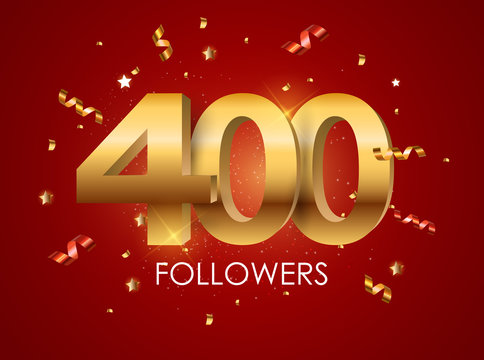 400 Followers Background Template Vector Illustration