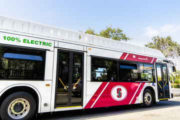August 20, 2019 Palo Alto / CA / USA -  The Marguerite free shuttle, 100% Electric, taking people from the Stanford campus to the nearby Medical Center; the photo was taken outside the campus