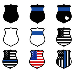 police shield icon on white background. flat style. police badge icon for your web site design, logo, app, UI. thin blue line symbol. police sign.