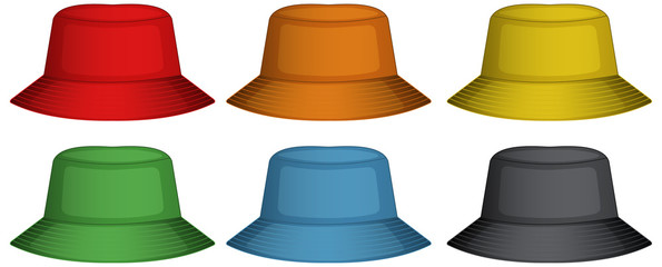 Bucket hats in six different colors