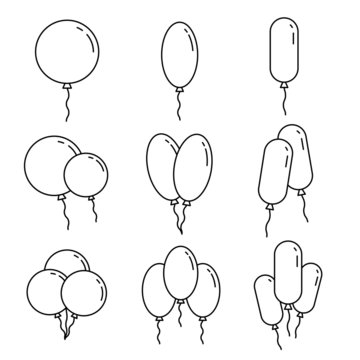 Set of outline baloons and balloon bunches. Decorative illustration for birthday cards or anniversary events and other
