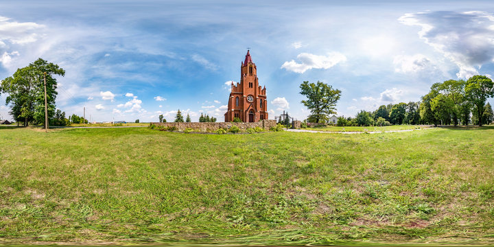full seamless spherical hdri panorama 360 degrees angle view near neo gothic catholic church of ascension of mary in equirectangular projection with zenith and nadir, AR VR content