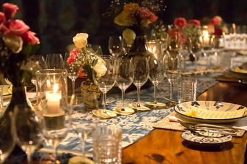Elegant table set up for dinner, special event, party or wedding.