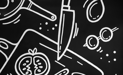 Black and white mock up of kitchenwear. abstract background