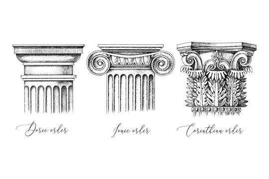 Architectural orders. 3 types of classical capitals - doric, ionic and corinthian