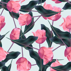 Seamless background. Flowers. Stylized pencil drawing.