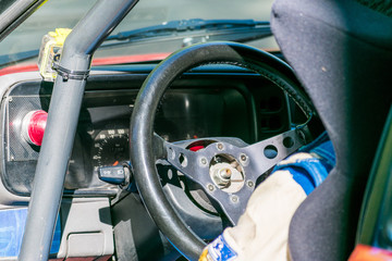 Rally car driving position detail